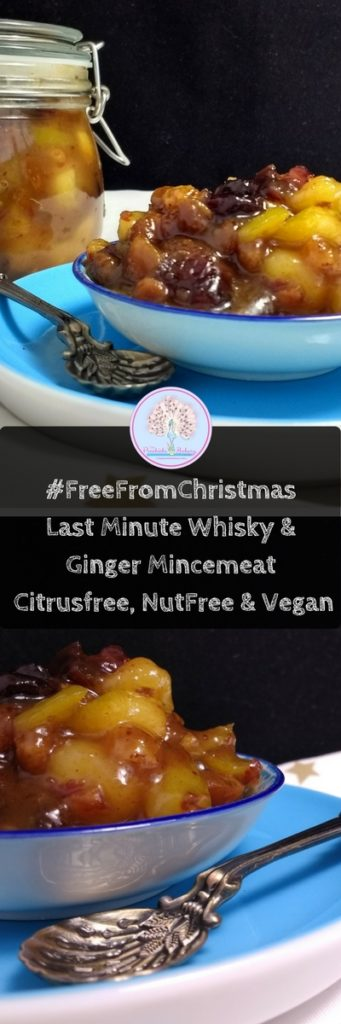 This Last Minute Whisky & Ginger Mincemeat is allergen free, vegan friendly and takes just 20minutes to prepare. Sticky, sweet, sour and with a spicy kick from the ginger ale its packed full of festive flavours making ita great alternative to the traditional mincemeat. (Dairyfree, Eggfree, Vegan, Soyfree, Glutenfree, Nutfree)
