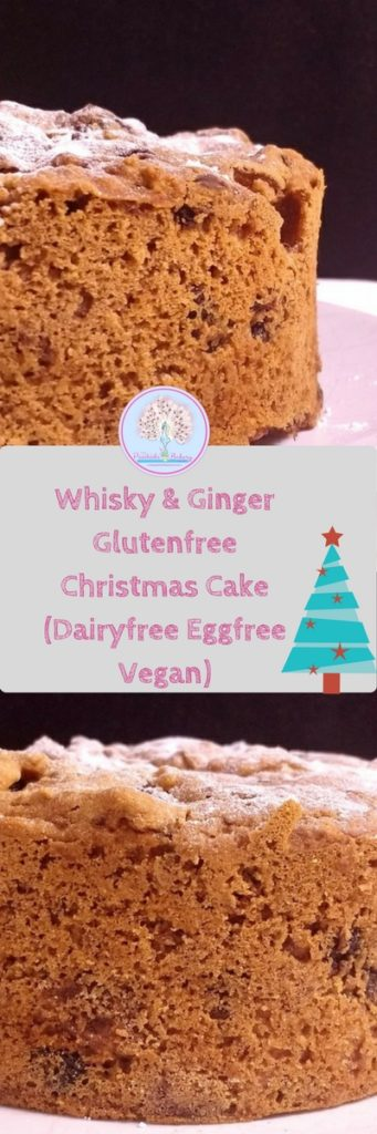 This Whisky & Ginger Glutenfree Christmas Cake (Dairyfree Eggfree Vegan) is so simple to make.  Just fold together ready made mincemeat, flour and some optional extras before baking, cooling and covering with icing or sparkly snow!