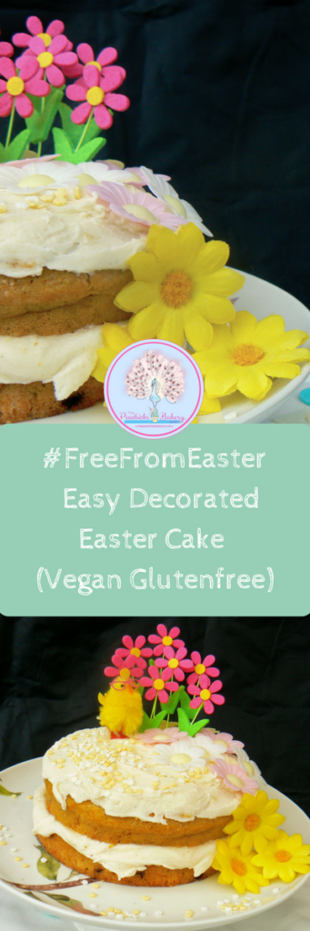 Enjoy a #FreeFromEaster with @Peachicksbakery Easy Decorated Glutenfree Easter Cake. Top14free, Eggfree & Glutenfree. Its a great activity for the kids that makes a lovely gift or Easter Sunday Afternoon Tea! Lovely spicy soft sponge, packed with juicy sultanas, layered with vegan cream cheese & topped with cute mini fondant decorations! Yum!