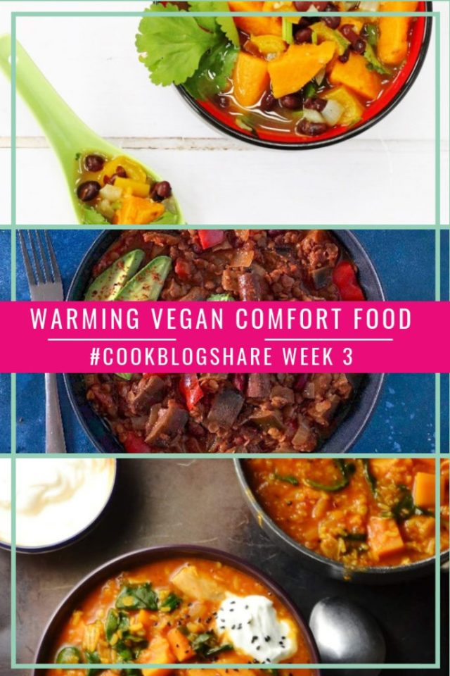 A great collection of Warming Vegan Comfort Food recipes to keep you toasty through the worst of the Winter weather! Plus check out the#CookBlogShare week 3 linky for more delicious recipes!