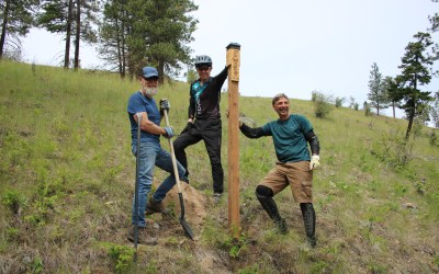 Brand-new Fur Brigade trail markers, thanks to Peachland volunteers