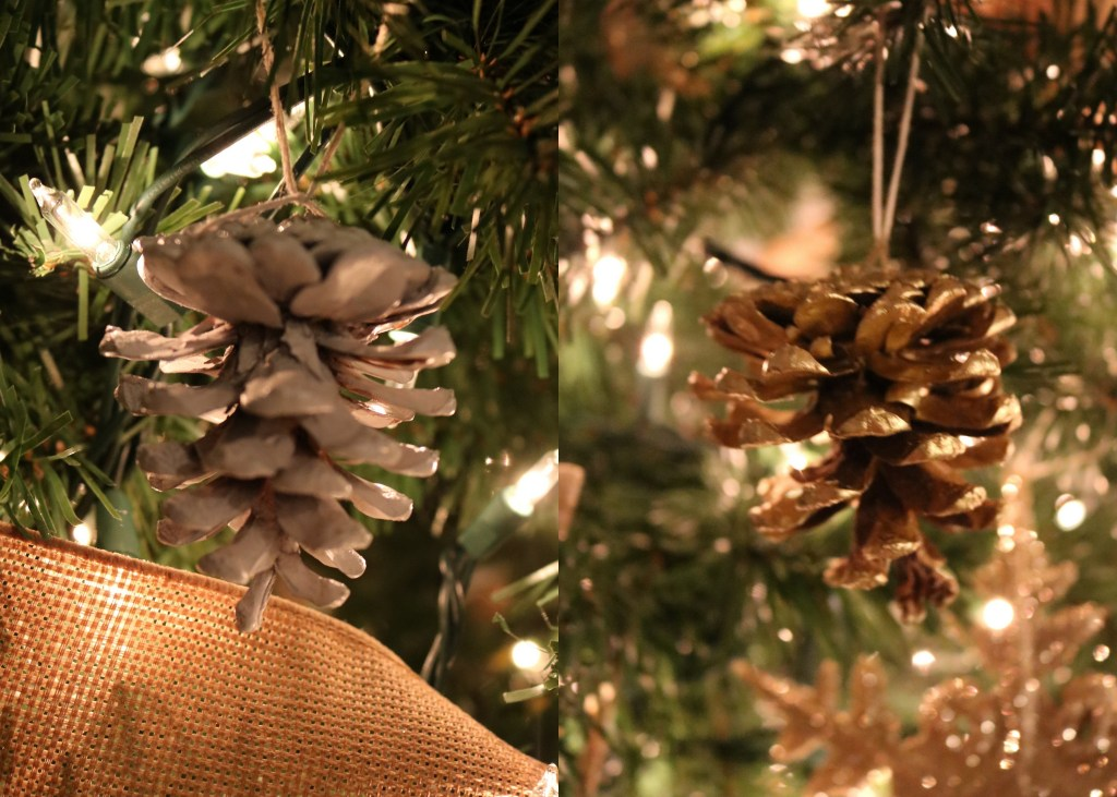 DIY white and gold pine cones