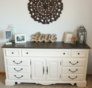 Before and After Dresser painted with homemade chalk finish paint