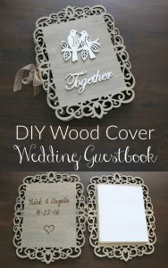 DIY Wood Cover Wedding Guestbook! Carve your names and date inside with a wood burner