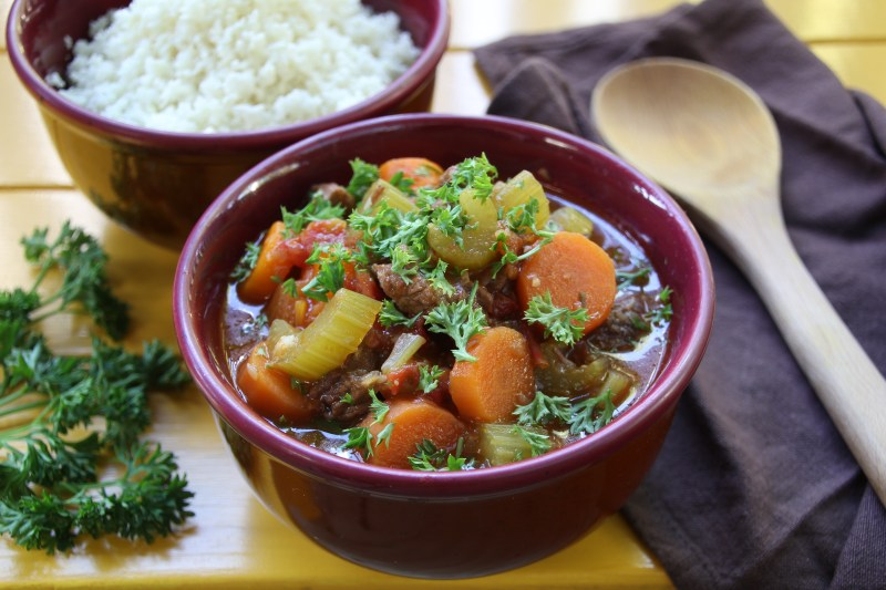 Slow-Cooked Beef Stew with Carrot and Celery