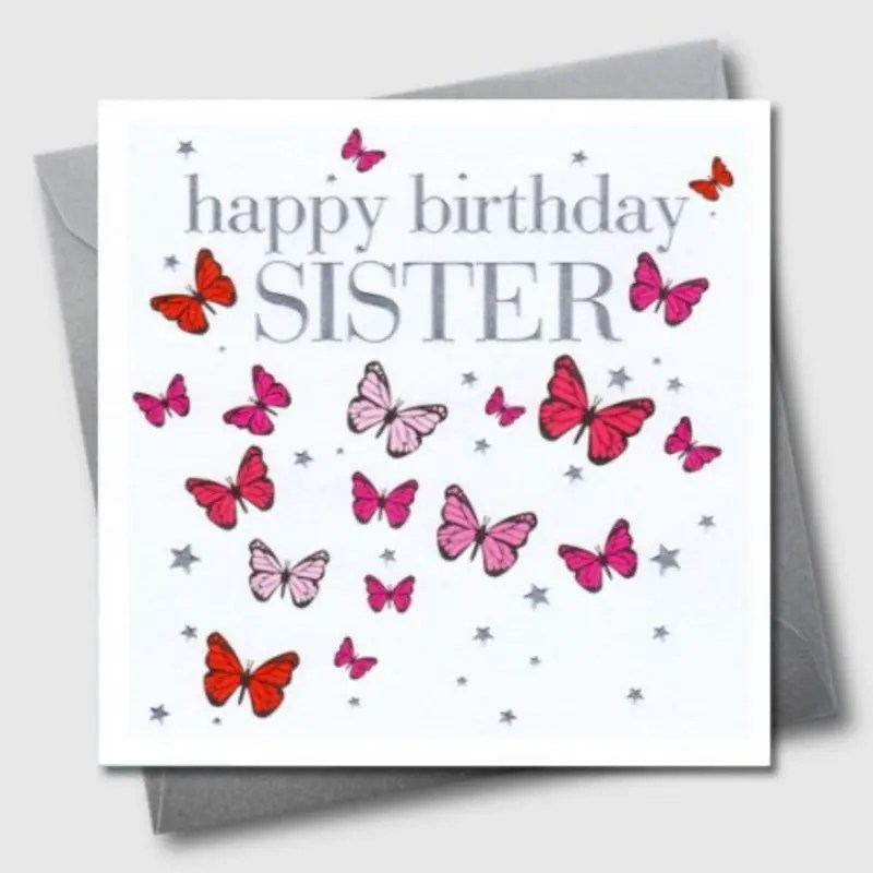 Happy Birthday Sister Butterflies Card The Pencil Case
