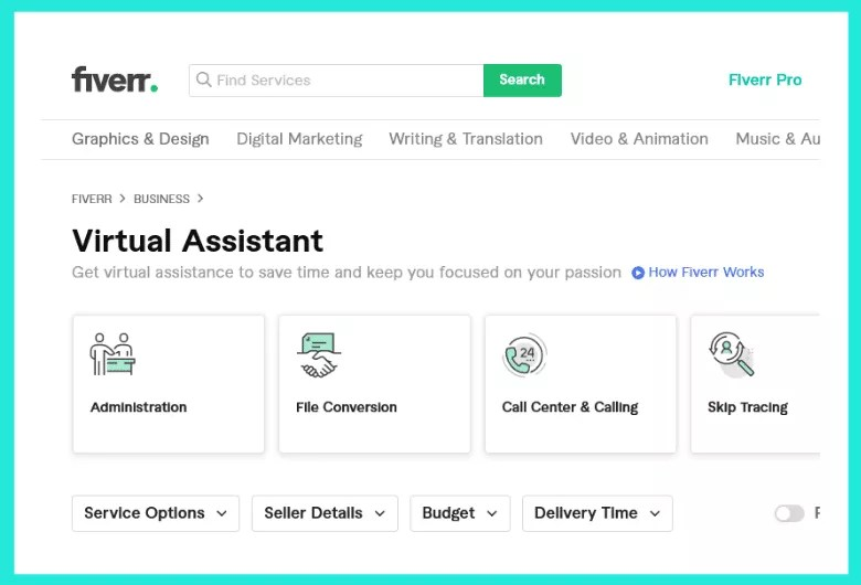 Find freelance virtual assistance jobs on fiverr