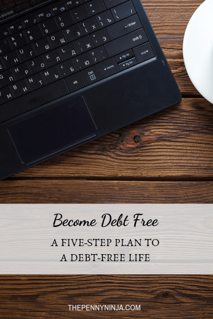 Become debt-free: a 5-step plan to a debt free life.