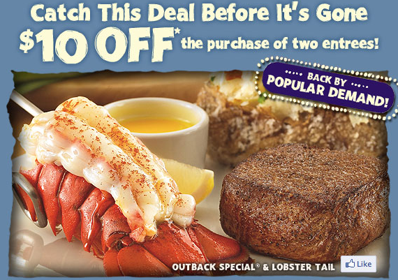 graphic about Outback Coupons Printable known as Outback Steakhouse: $10 Off 2 Food items! (Coupon) - The