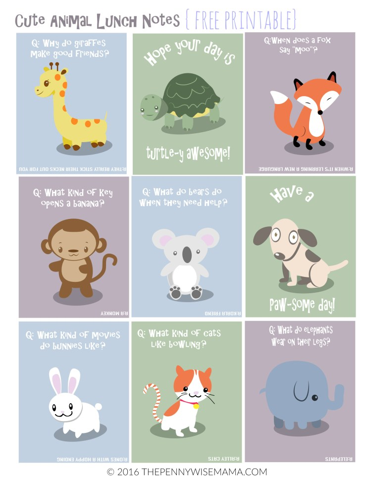 Cute Animal Lunch Box Notes - FREE printable!