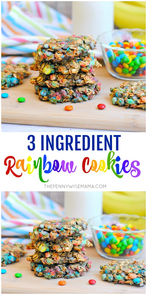 These Rainbow Cookies are so yummy and only require 3 ingredients! An easy recipe that is perfect for parties. #rainbowfood #cookies #desserts