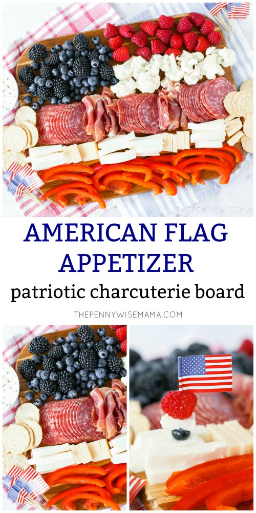 Patriotic Charcuterie Board - An American Flag Meat and Cheese Board. A perfect appetizer for the Fourth of July!