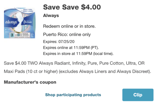New $4 off Always coupon