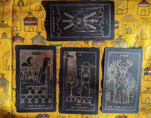 (3 of Swords) 8 of Cups 4 of Cups King of Pentacles