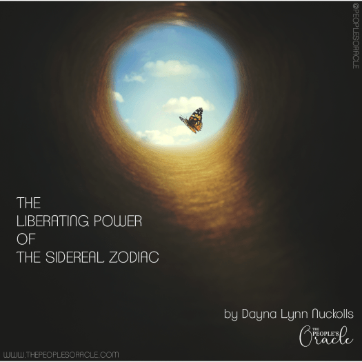 The Liberating Power of the Sidereal Zodiac by Dayna Lynn Nuckolls, The People's Oracle. Image of a monarch butterfly flying toward freedom from a dark whole. The sky is in view, blue with white fluffy clouds.