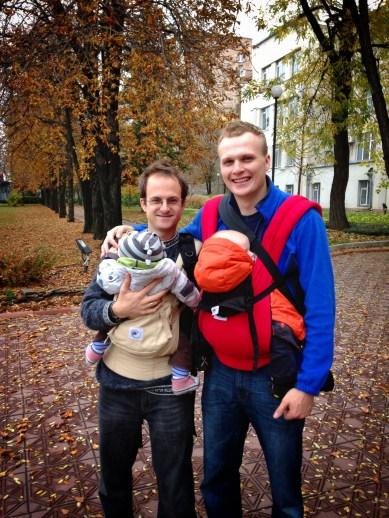 daddy friends wearing baby friends