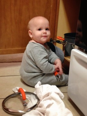 playing with pots & pans in the new kitchen!