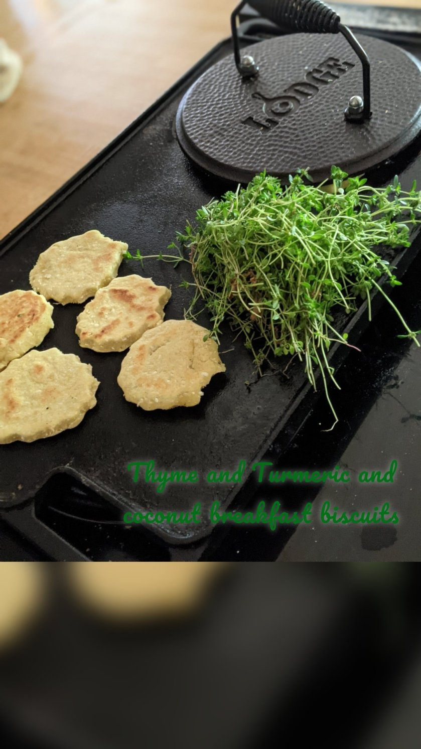 Thyme and Turmeric and coconut breakfast biscuits