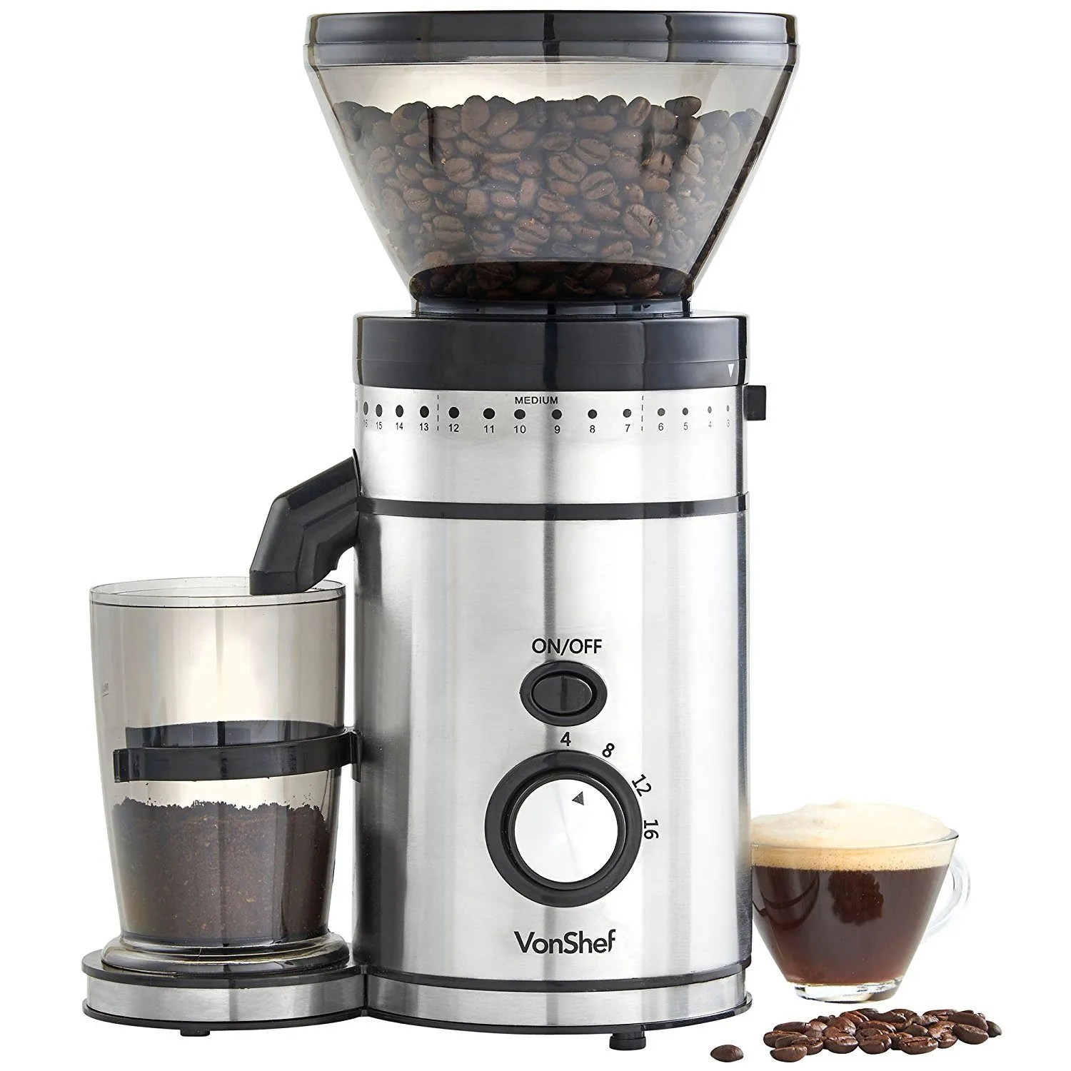 VonShef Premium Burr Coffee Grinder with 18 settings