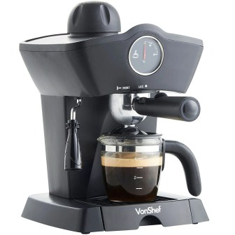 VonShef 4 Bar Espresso Coffee Maker Machine Black