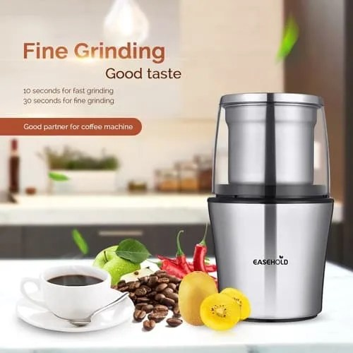 EASEHOLD 200W Electric Whole Coffee grinder silver