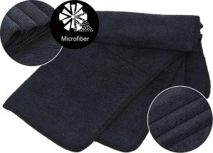 Microfiber Dish Cloths Ultra Absorbent Kitchen Dish Rags for Washing Dishes Fast Drying Cleaning Cloth Blue-Black 10-Pack 12InchX12Inch
