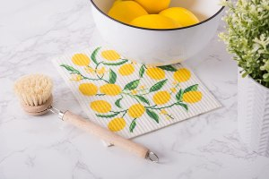 """DII Swedish Dishcloths 100% Natural Cellulose, Environmentally Friendly Reusable Kitchen Cleaning Cloth, Machine Washable, Dishwasher and Microwave Safe, 7.75 x 6.75"""", Lemons , 3 Piece"""
