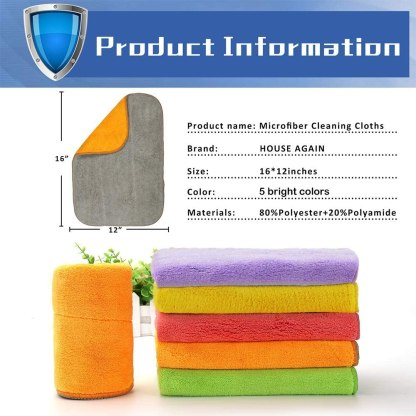 5 Extra Thick Microfiber Cleaning Cloths with 5 Bright Colors, Super Absorbent Dust Cloths Buffing Cloths with Two Color on Two Side for Taskling Any Cleaning Job with Ease