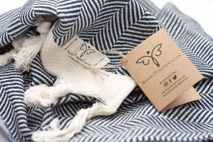 Smyrna Original Turkish Hand Towels Herringbone Series Set of 2 | 100% Cotton, 16 x 40 Inches | Decorative Bathroom Peshtemal Towel for Hand, Face, Hair, Gym, Yoga, Tea, Kitchen and Bath (Navy)