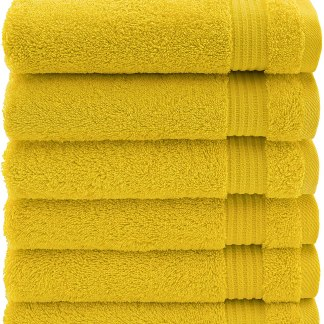 Luxury & Hotel Quality 100% Turkish Genuine Cotton 6-Piece Hand Towel Set, Extra Soft & Absorbent for Face & Hands by United Home Textile, Lemon Yellow