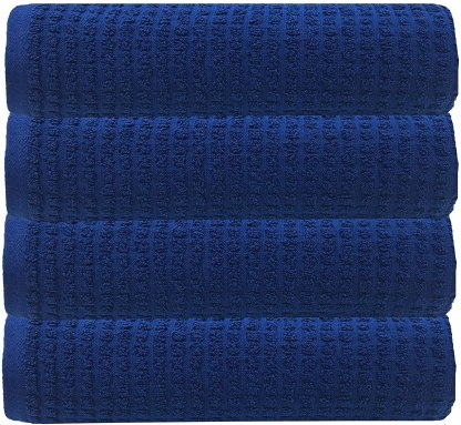 GLAMBURG 100% OEKOTEX Organic Cotton 4 Pack Bath Towel Set, GOTS Certified, Contains 4 Oversized Bath Towels 30x54, Hotel & Spa Quality, Absorbent & Eco-Friendly - Navy Blue