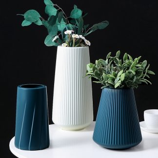 Hot Sale Vases for Decoration Home Plastic Vase White/Blue Flower Basket Arrangement Living Room Modern Style Simple Artistical