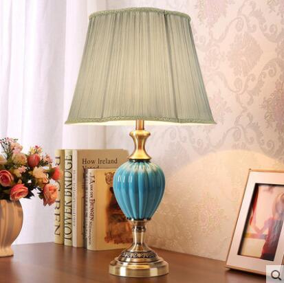 Blue Ceramic Bedside Table Lamp Modern Mediterranean Sea Dimmer Light Foyer Bed Room Corner Porcelain Desk Reading Light 1881