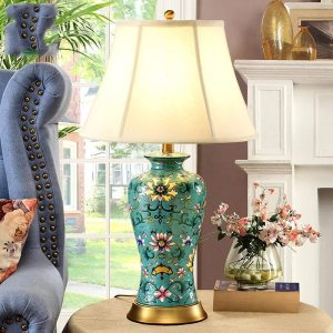 Hand Painted Green Flower Famile Rose Ceramic Table Lamp For Home