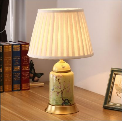 Chinese green flower bird ceramic large Table Lamps vintage Touch Switch fabric copper base E27 LED lamp for bedside&foyer MF046