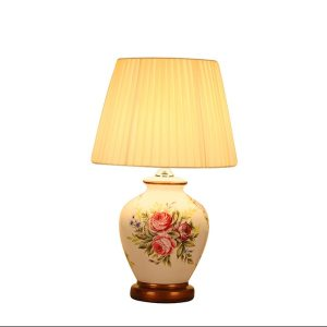 Chinese style white flower ceramic Table Lamps Fashion dimmer/touch fabric E27 LED lamp for bedside&foyer&studio&tea room MF005