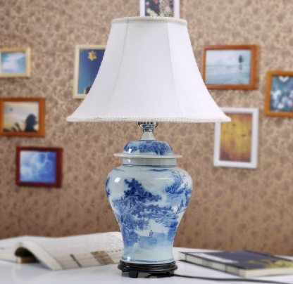 Antique Blue And White Mountains-and-waters Porcelain Ceramic Table Lamp For Hotel Made in Jingdezhen
