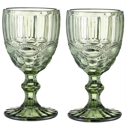 Relief Wine Glass Goblet Cup 2 pcs / lot Color Retro Juice for Drinking Cup Spirits Wedding Party Wine Glasses 300ml 240ml