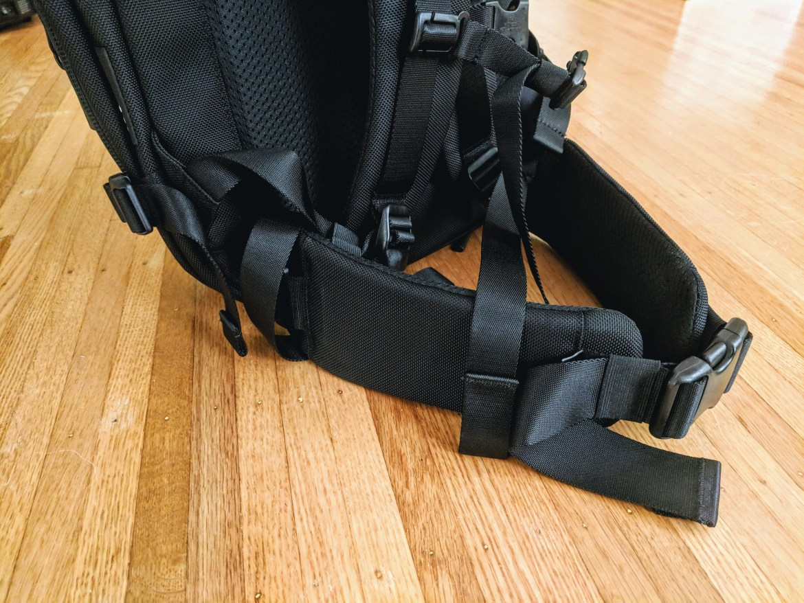 Aer Travel Pack 2 padded belt accessory fitted to bag