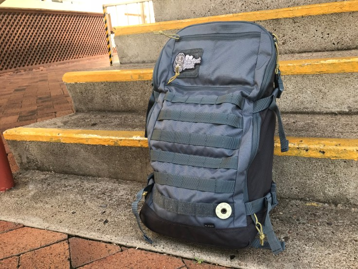 5.11 Quad Zip Pack Front view with patches