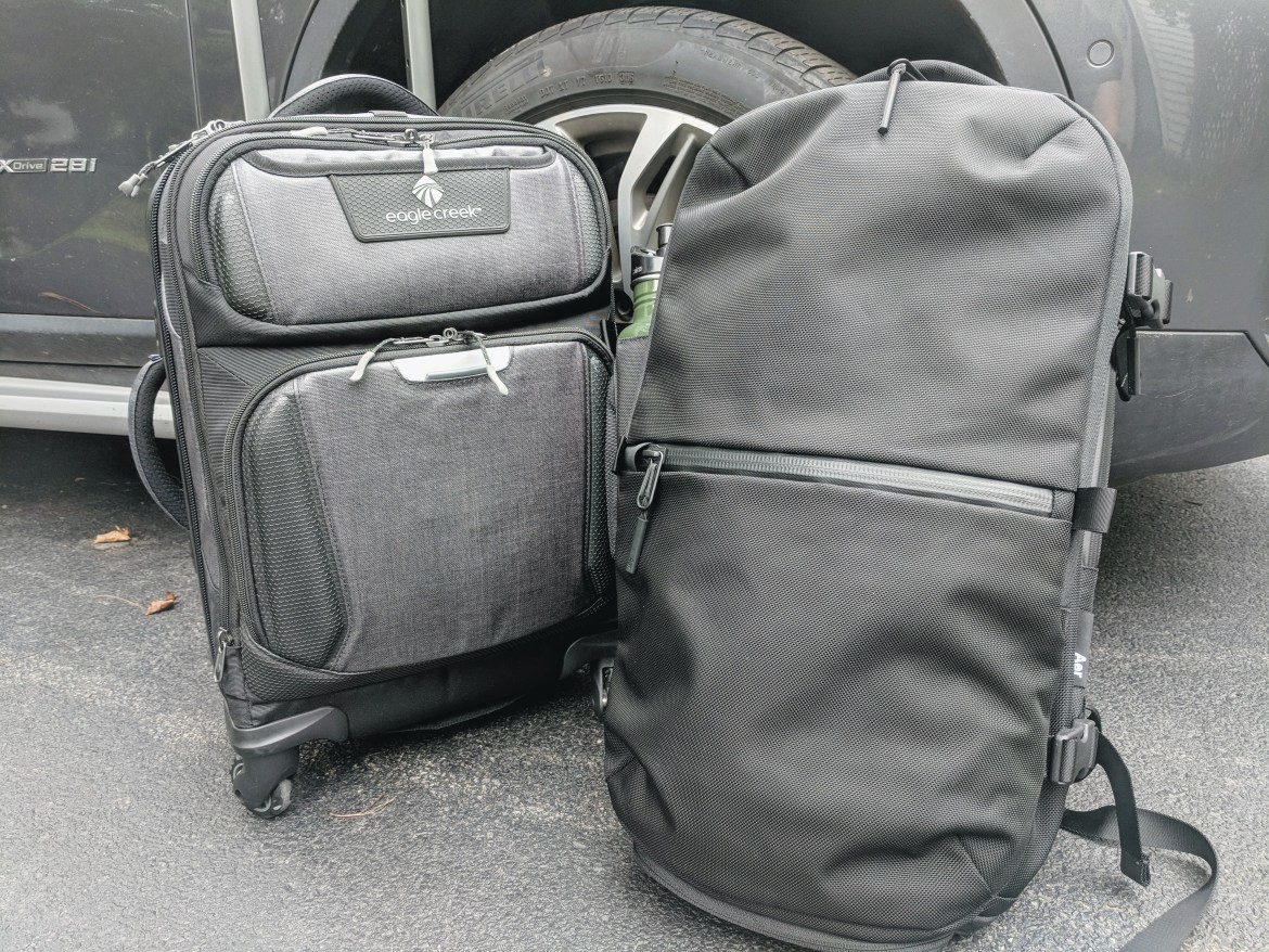 Aer Travel Pack 2 with luggage outdoors natural light backpack review