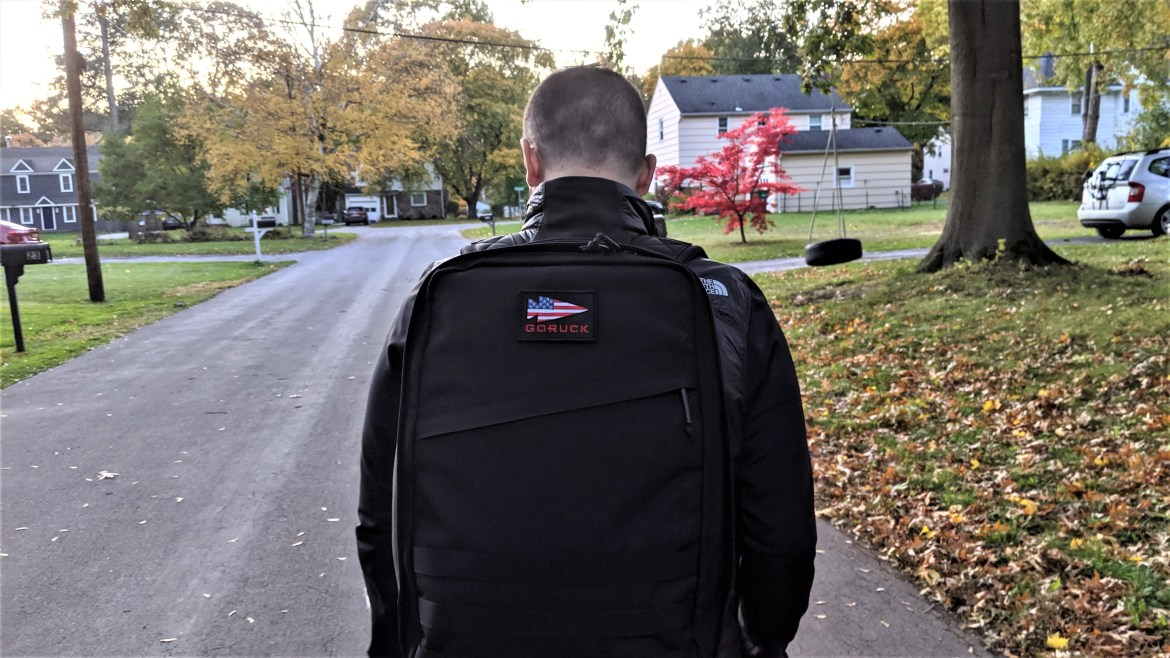 goruck gr1 review wearing on back with patch