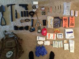 "Kemp's massive ""bug out bag. The military taught him well!"