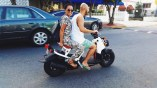 Riding a scooter with a local