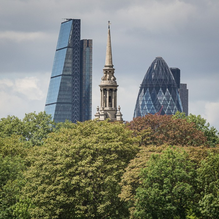 The Cheesegrater, St Paul's, Shadwell and the Gherkin from Rotherhithe