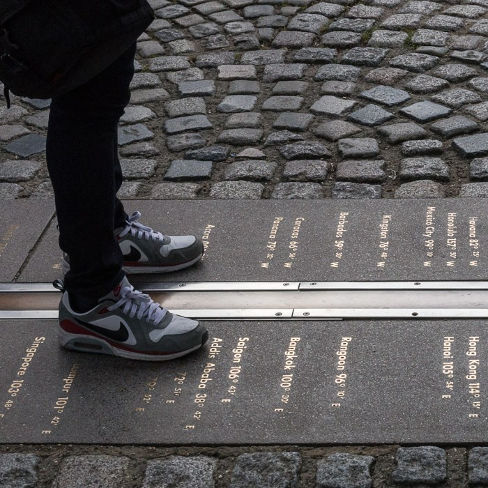 Prime Meridian of the World - Longitude 0º. The line divides the eastern and western hemispheres of the Earth. Royal Observatory, Greenwich