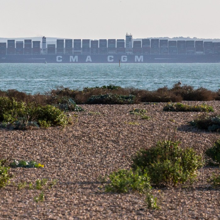 Container Ship in the Solent, Hampshire.