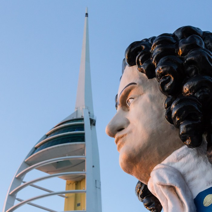 Ships figurehead of the First Duke of Marlborough, John Churchill with Spinnaker Tower behind, Portsmouth, Hampshire.