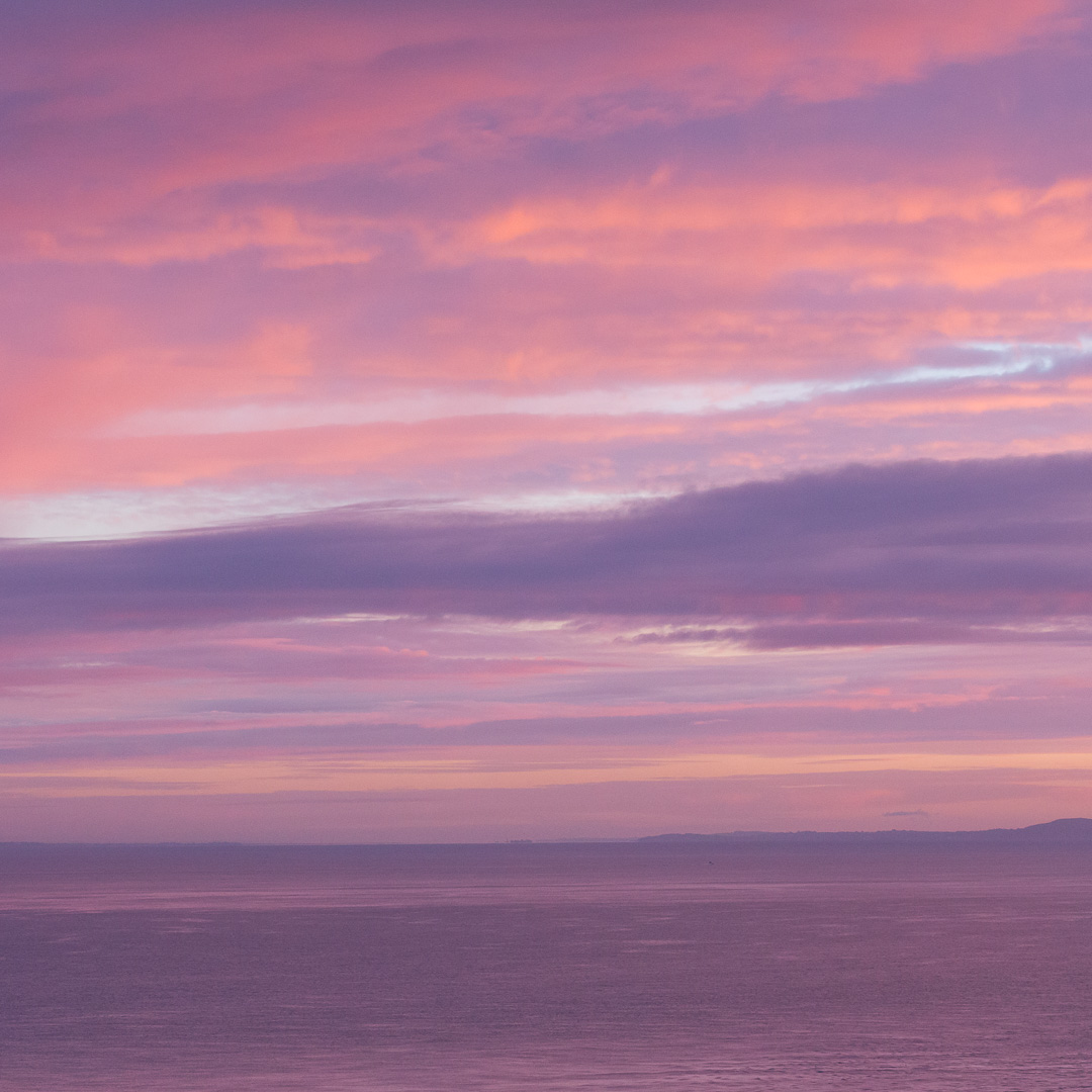First light, Isle of Wight from Peveril Point, Dorset.