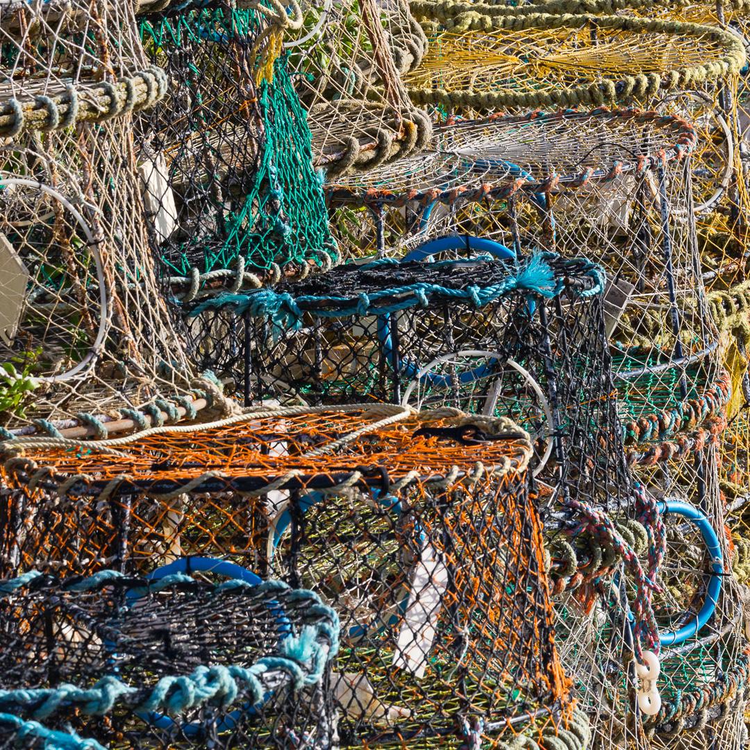 Lobster pots, Brixham harbour, Devon.